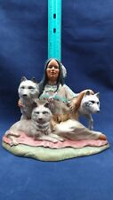 Hand Crafted Southwest Ceramic Native American Figurine - Woman seated w/ Wolves