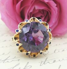 Vintage Synthetic Alexandrite & Enamel Cocktail Ring 10k Yellow Gold Size 6.25