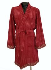 New VERSACE Belted Red Silk Robe size M