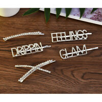 Women's Girls Hair Clip Word Rhinestone Crystal Hairpin Barrette Slide Clips