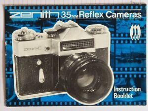 Zenith 35mm Reflex Cameras Instruction Booklet