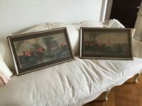 "Antique vtg framed Painted By Herring ""The Meet"" Prints Pair  fox hunt horses"