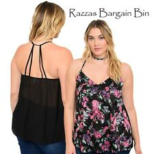 New Ladies Black Halter Style Floral Tops Plus Size 14/1XL (1039)OG