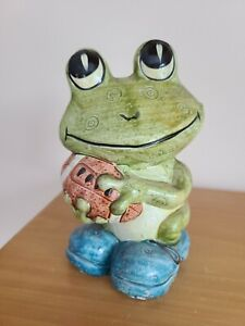 Vintage Ceramic Green Frog holding a football Bank