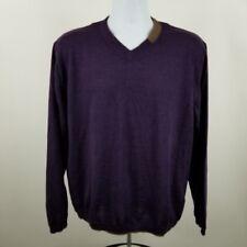 Robert Graham Men's Purple V-Neck Wool Sweater L/S Size Large L