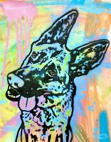 Dean Russo Art Original Artwork 11x14 German Shepherd Dog Animal Art