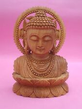 Lotus Buddha Statue wooden artisan Buddhism Handmade wood Carving