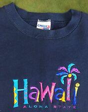 Vintage Mens L 80s 90s Hawaii Aloha State Chalk Line Blue Stitced Blue Sweater