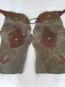 Authentic Vintage Kids Child Suede Chaps Photoshoot ToyRodeo Western Cowboy Prop