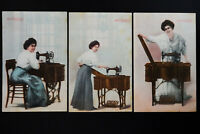 US 3 Early Singer Sewing Machine Advertising Postcards