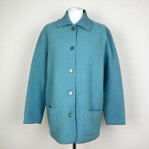 Womens LUCIA 100% wool Retro Jacket Coat Size L UK 12-14 Oversized Vintage Teal