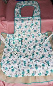 NWT Vintage  Smock Apron w/ Pocket | Aqua Trimmed Floral Print