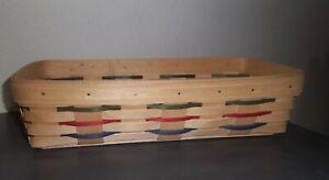 Longaberger ~ BREAD BASKET '99 Natural Woven Trad w Grn Red Bl Weaving RARE ~USA