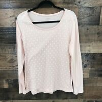 Ann Taylor Loft Women's Pale Pink Dot Lace Overlay Long Sleeve Top Size Large