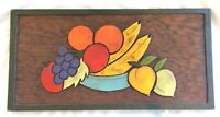 Vtg Hand Carved & Painted Bas Relief Wood Wall Plaque 1970 Mexico, Bowl of Fruit