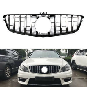GT R Black Front Grille Grill For Mercedes Benz C Class W204 2008-2014 (silver)
