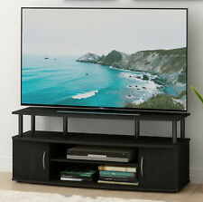 TV Stand Black Storage Shelves Cabinet Media Console For 55 Screen Entertainment