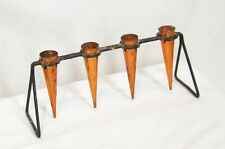 Vintage copper candle holder arts and crafts mid century modern cones hand made