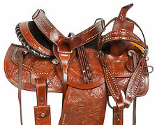 "14"" 15"" 16"" 17"" 18"" STUDDED BARREL RACING TRAIL LEATHER HORSE SADDLE TACK SET"