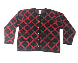 Icelandic Design Women's Sz L Red Wool Embroidered Full Zip Sweater Jacket VTG