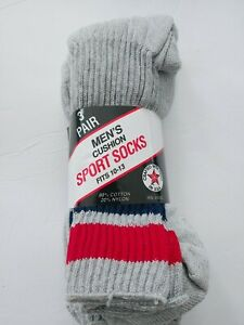 90's Vintage 3 Pair Men's Socks (10-13) 80% Cotton 20% Nylon  Made In USA