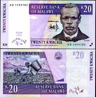 MALAWI 20 KWACHA 1997 P 38 small digit UNC