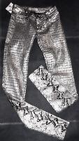 Silver & Black Metallic Animal Print Jeans-Stretch Low Rise Slim Leg-8-W26 L32