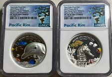 2017  Palau $10 Dolphin & Sea Horse 2 Piece Set 2oz each Silver Coins NGC PF70