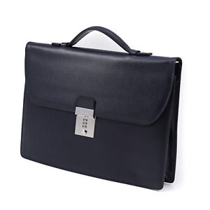 Canali Navy Blue Grained Safiano Leather Slim Briefcase NWT Bag