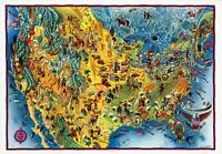 United states many Decorative cartouches 1940 pictorial map POSTER 11081001