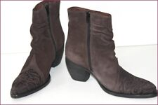 MURATTI Bottines Boots Pointues Brodées Cuir Nubuck Marron  T 36 TTBE