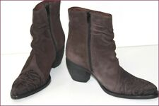 MURATTI Boots Booties Pointed Embroidered Leather Nubuck Brown T 36