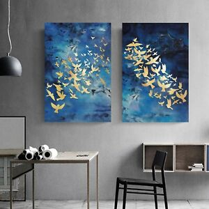 Gold Bird on Blue Framed Canvas Print Abstract Background Dinning Room Wall Art