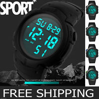 Fashion Men's Boy Waterproof Sport LCD Digital Stopwatch Date Rubber Wrist Watch