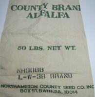 NORTHAMPTON COUNTY SEED CO ALFALFA BATH PA OLD FEED CLOTH BAG SIGN SACK *A2PS