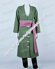 One Piece Roronoa Zoro Green Trench Coat Cosplay Costume Great Quality Halloween