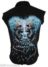 Flaming Spine Spiral Cuts Cut Off Sleeveless Biker Alternative Goth Work Shirt
