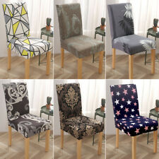 1/4/6pcs Spandex Printed Stretch Dining Room Chair Seat Slipcover Protector