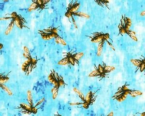 Sky Blue Honey Bees Creature Comforts Collection by Quilters Only Fabric 1/2 Yd