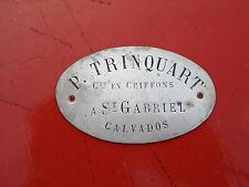 P Trinquart Plaque de domicile Commerce en chiffons a St Gabriel calvados