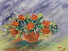 IMPRESSIONIST OIL PAINTING STILL LIFE FLOWERS BOUQUET SIGNED
