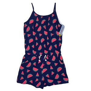 Cat & Jack Girl's Night Fall Blue Watermelon Romper One Piece, Large (10/12) NEW