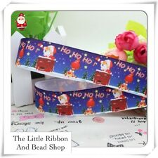 "✂2m grosgrain 7/8"" 22mm CHRISTMAS SANTA STUCK UP THE CHIMNEY Printed Ribbon"