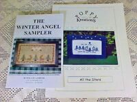 Cross Stitch Lot of 2 Charts Booklets Winter Angel Sampler All the Stars