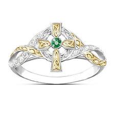 Two-Tone Gold 925 Silver Emerald Ring Jesus Cross White Topaz Wedding Jewelry
