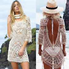 b78e898c48 Women's Bikini Swimwear Cover Up Boho Lace Crochet Summer Beach Dress Mini  Dress