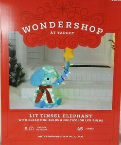 Target Wondershop Lit Tinsel Elephant Clear Mini Bulbs-Multicolor LED Bulbs NIB