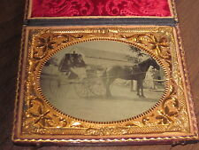 1/4 Tintype of 2 Men in a Horse & Buggy at Farm Setting in Full Complete Case