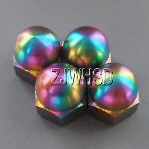 4pcs M6 Rainbow Titanium Ti Acorn Hex Cap Nut / Aerospace Grade Colorful Bike