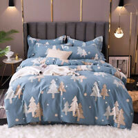 Christmas Tree Cotton Doona Duvet Quilt Cover Set Double Queen King Size Bedding